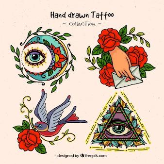 Desenhadas mão tatuagens espirituais