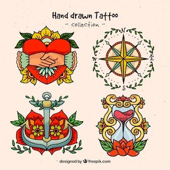 Desenhadas mão tatuagens ornamentais
