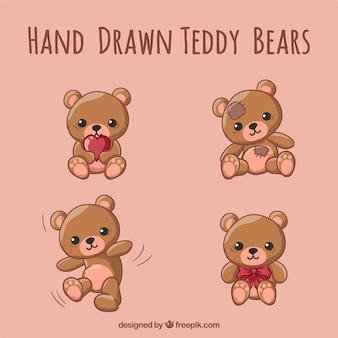 Desenhadas mão ursos de pelúcia