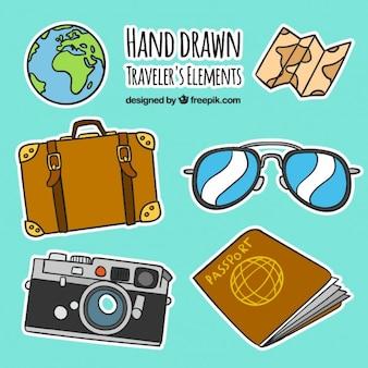Desenhadas mão viajantes elementos etiquetas