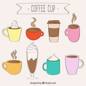 Desenhadas mão xícaras de café