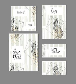 Desenhado à mão, abstrato moderno tropical minimalista salvar o modelo de cartão de data com folha de palmeira exótica em cores pastel de verde e ouro.