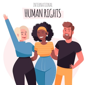 Desenhado à mão ajudando as pessoas no dia dos direitos humanos
