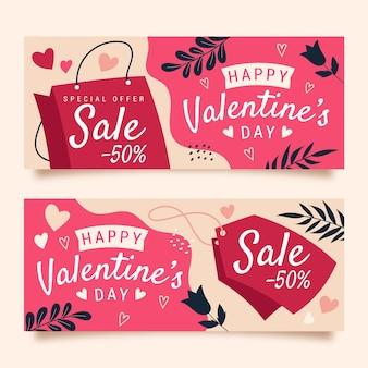 Desenhado à mão banners de venda do dia dos namorados com desconto