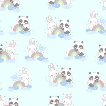 Desenhado à mão bonito urso panda com padrão sem emenda de arco-íris