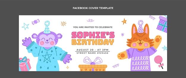 Desenhado à mão capa do facebook do aniversário