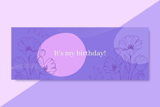 Desenhado à mão capa do facebook realista de aniversário