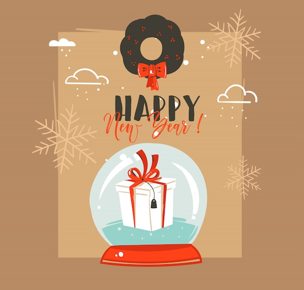 Desenhado à mão cartão de feliz natal e feliz ano novo com ilustrações de coon retro vintage com globo de esfera de neve e visco em fundo marrom