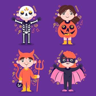 Desenhado à mão, coleções infantis planas de halloween