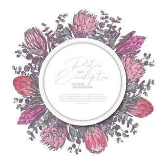 Desenhado à mão com protea e eucalipto com etiqueta de círculo ou ilustração de etiqueta