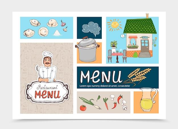 Desenhado à mão conceito de café de cozinha russa com chef pan bolinhos restaurante edifício suco nuvem orelha trigo cogumelos tomate cenoura pimenta cebola ilustração