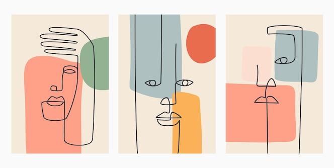 Desenhado à mão contemporâneo. linha contínua, conceito elegante minimalista.