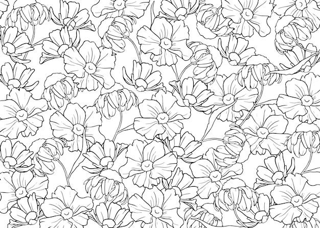 Desenhado à mão contorna o fundo das flores