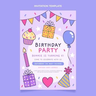 Desenhado à mão convite infantil de aniversário