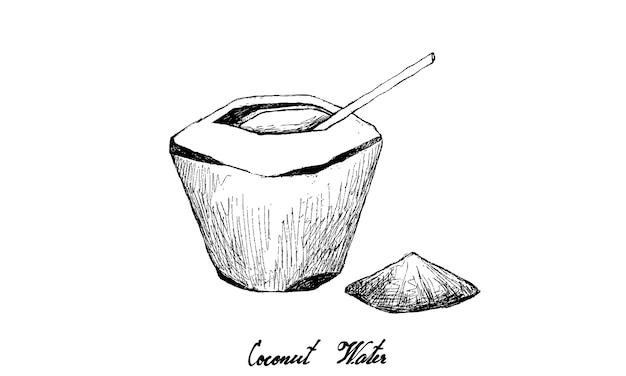 Desenhado à mão de água de coco no fundo branco