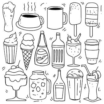 Desenhado à mão de bebidas em estilo doodle isolado no fundo branco, tema de bebidas conjunto desenhado mão de vetor. ilustração vetorial