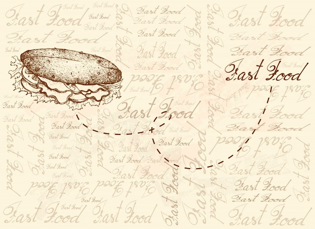 Desenhado à mão de fundo de delicioso sanduíche de baguete