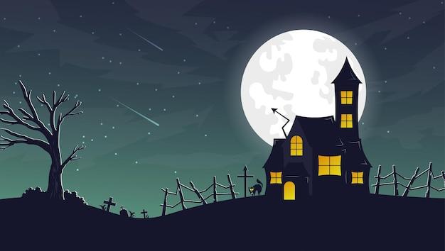 Desenhado à mão de haunted house halloween em flat design
