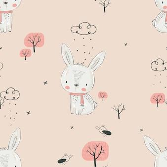 Desenhado à mão de padrão sem emenda com coelhinho fofo na floresta. pode ser usado para crianças ou camisa de bebê