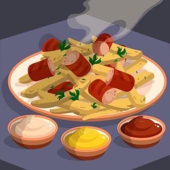 Desenhado à mão deliciosa salchipapa no prato