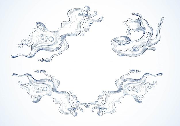 Desenhado à mão desenho de diferentes ondas do mar