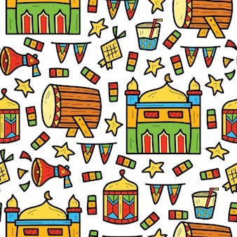 Desenhado à mão desenho fofo ramadan desenho padrão doodle