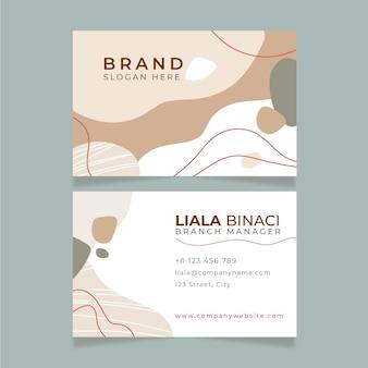 Desenhado à mão design plano formas abstratas cartões de visita