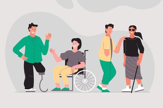 Desenhado à mão dia internacional das pessoas com deficiência