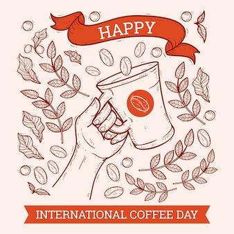 Desenhado à mão dia internacional do café