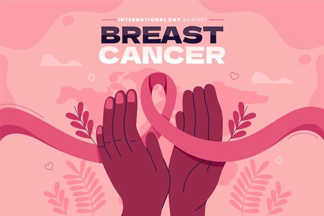 Desenhado à mão dia internacional plano contra o fundo do câncer de mama
