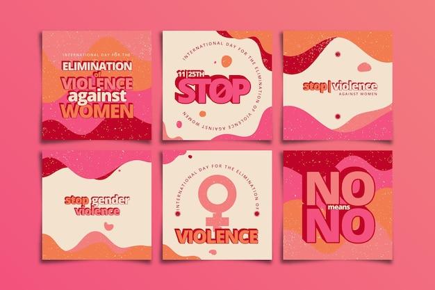 Desenhado à mão, dia internacional plano para a eliminação da violência contra as mulheres, coleção de postagens do instagram