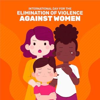 Desenhado à mão dia internacional plano para a eliminação da violência contra as mulheres ilustração