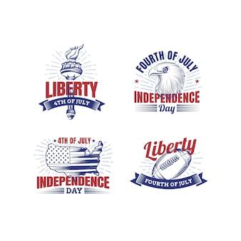 Desenhado à mão em 4 de julho - coleção de crachás do dia da independência