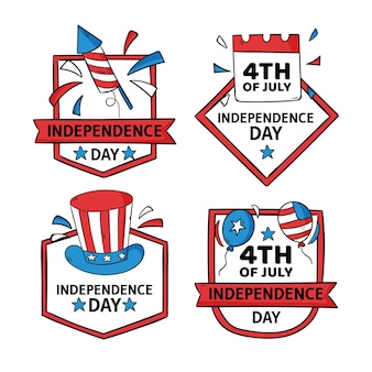 Desenhado à mão em 4 de julho - coleção de emblemas do dia da independência