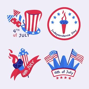 Desenhado à mão em 4 de julho - coleção de rótulos para o dia da independência