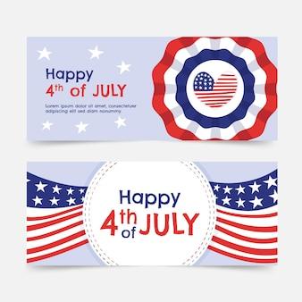 Desenhado à mão em 4 de julho - conjunto de bandeiras do dia da independência