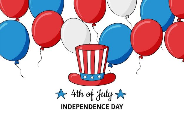 Desenhado à mão em 4 de julho - fundo de balões do dia da independência