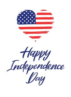 Desenhado à mão em 4 de julho - letras do dia da independência
