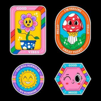 Desenhado à mão emblemas e etiquetas da moda dos desenhos animados