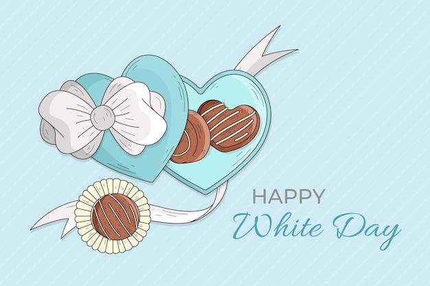 Desenhado à mão feliz dia branco
