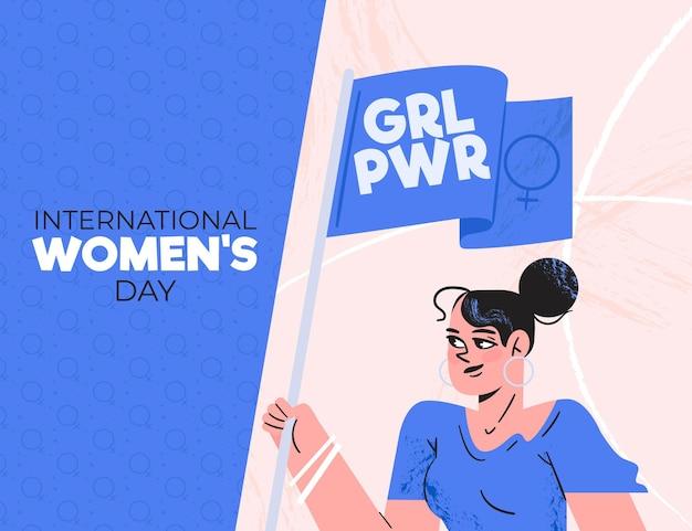 Desenhado à mão feliz dia internacional da mulher