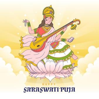 Desenhado à mão feliz vasant panchami