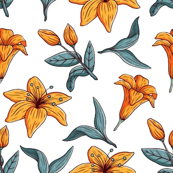 Desenhado à mão flores coloridas desabrochando botânicas florais e folhas padrão sem emenda de vetor de fundo
