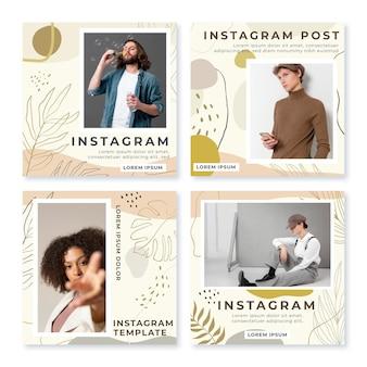 Desenhado à mão, formas planas e abstratas, coleção de postagens do instagram com foto