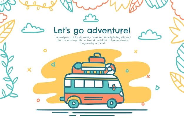 Desenhado à mão fundo de aventura com ônibus
