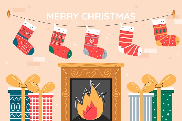 Desenhado à mão fundo liso de natal com lareira e meias