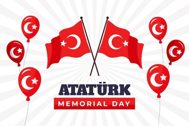 Desenhado à mão fundo plano ataturk memorial dia