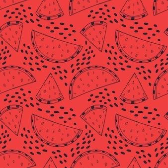 Desenhado à mão fundo vermelho sem costura com fatias de melancia