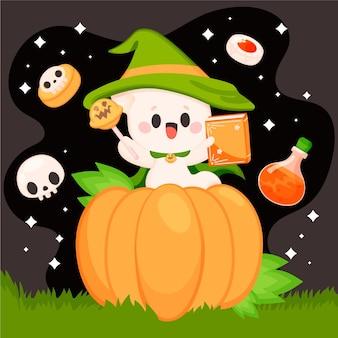 Desenhado à mão ilustração plana de fantasma de halloween