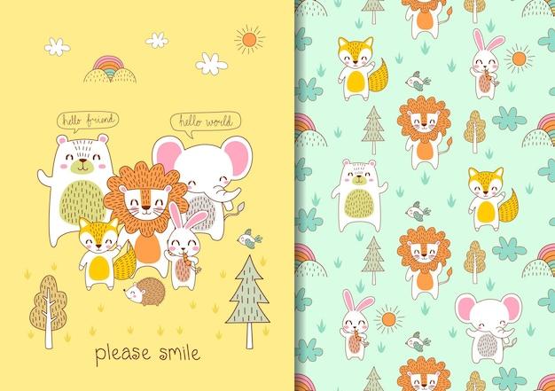 Desenhado à mão infantil sem costura padrão definido com animais fofos, por favor sorria